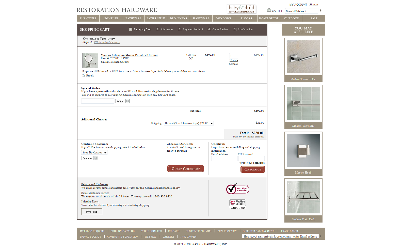 Shopping cart examples for Restoration hardware online shopping